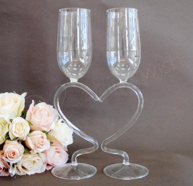 Wedding Toasting Glass - Heart Stem - Wedding Wish Image 1