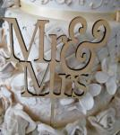 Mr and Mrs Rustic Wooden Cake Pick image