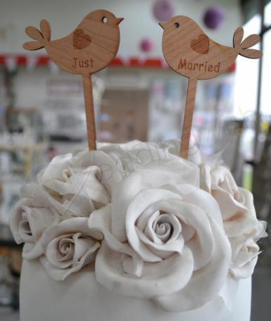 Wedding Just Married Love Bird Rustic Cake Pick - Wedding Wish Image 1