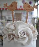 Just Married Love Bird Rustic Cake Pick image