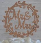 Mr and Mrs Flower Circle Rustic Cake Pick image