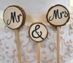Mr and Mrs Three Log Rustic Cake Pick image