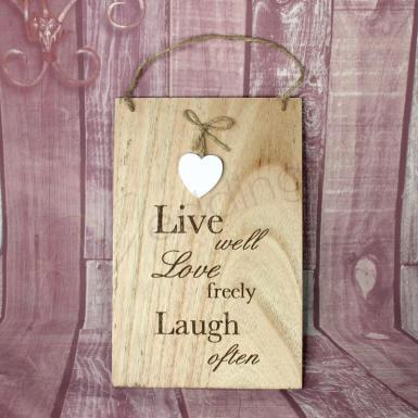 Wedding Wall Plaque - Live Well Love Freely - Wedding Wish Image 1