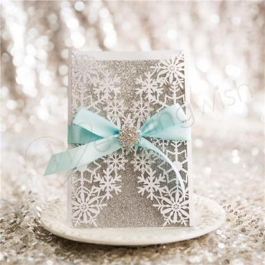 Wedding  Exquisite Snowflake Laser Cut Wedding Invitations Image 1