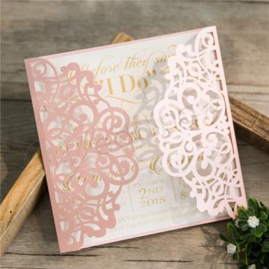 Wedding Elegant Floral Laser Cut Wedding Invitation - Wedding Wish Image 1