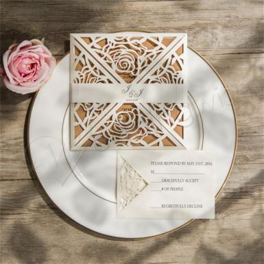 Wedding  Glamorous Rose Laser Cut Wedding Invitation Image 1