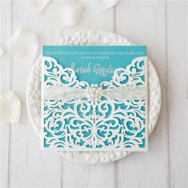 Wedding Elegant White Laser Cut Ribbon Bow Wedding Invitation  (Matching Laser Cut Cards Available) - Wedding Wish Image 1