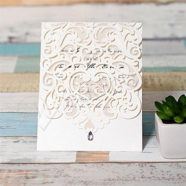 Wedding Exquisite Laser Cut White Pocket Wedding Invitation Cards  (Matching Laser Cut Cards Available) - Wedding Wish Image 1