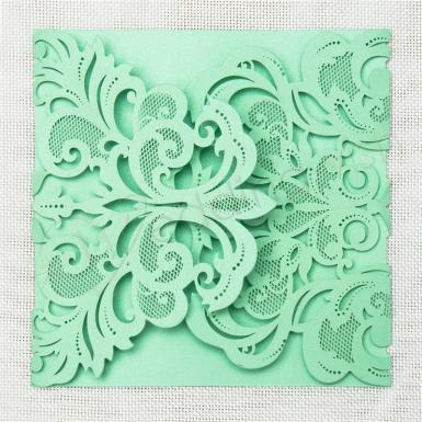 Wedding  Gorgeous Lace Pocket Laser Cut Wedding Invitation Card  (Matching Laser Cut Cards Available) Image 1