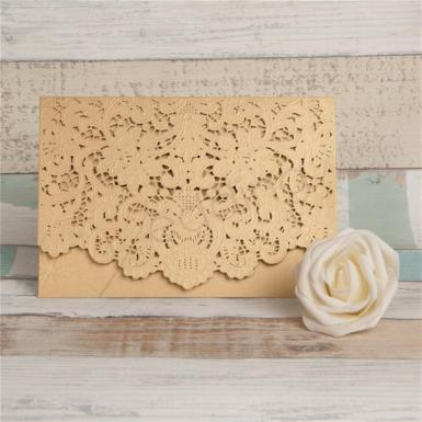 Wedding Graceful Gold Laser Cut Pocket Wedding Invitation - Wedding Wish Image 1