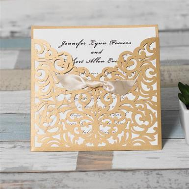 Wedding  Graceful Metallic Gold Laser Cut Ribbon Bow Wedding Invitation Image 1