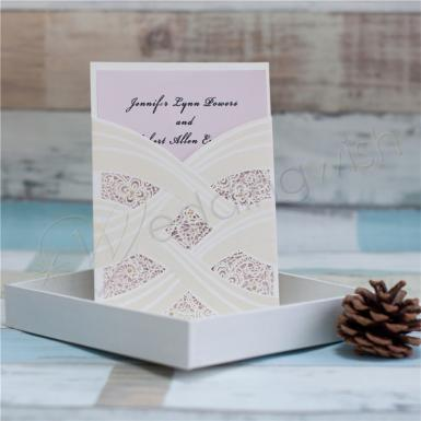 Wedding  Luxurious Wedding Invitation Card With Laser Cut Pearl Pattern Image 1