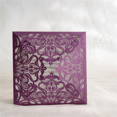 Wedding Purple floral laser cut wedding invitations - Wedding Wish Image 1