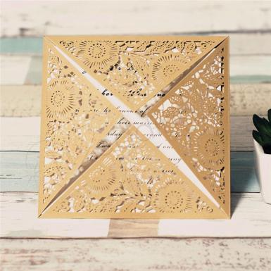 Wedding Gorgeous Gold Floral Laser Cut Wedding Invitations - Wedding Wish Image 1