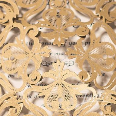 Wedding Metallic Gold Floral Laser Cut Wedding Invitations  (Designed Insert Cards Available) - Wedding Wish Image 1