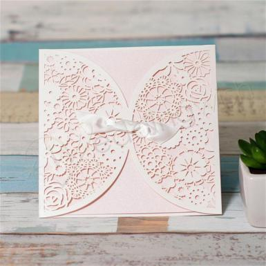 Wedding Romantic Blush Pink Lace Cut Wedding Invitation Card - Wedding Wish Image 1