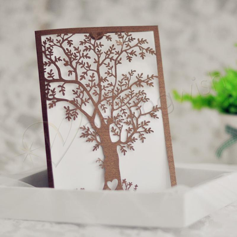 Wedding Unique Design Elegant Tree Laser Cut Wedding Invitations ...