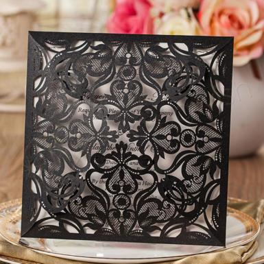 Wedding  Amazing Black Floral Laser Cut Wedding Invitations  (Designed Insert Cards Available) Image 1