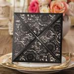 Charming Black Floral Laser Cut Wedding Invitations  (Designed Insert Cards Available) image