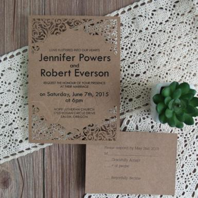 Wedding Classic Swirls Flat Laser Cut Wedding Invitations - Wedding Wish Image 1