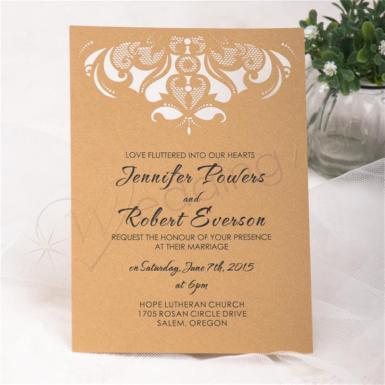 Wedding Gorgeous Chandelier Flat Laser Cut Invitations - Wedding Wish Image 1