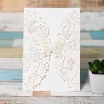 Luxurious White Floral Laser Cut Wedding Invitation Cards image