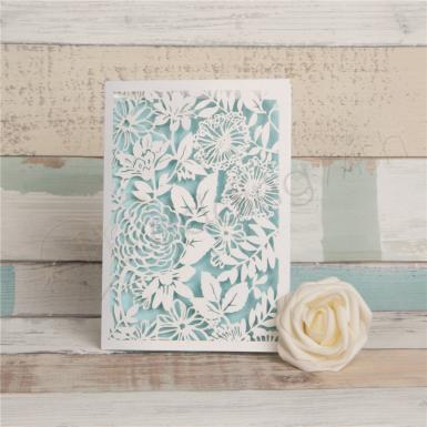 Wedding Magical White Floral Lacer Cut Folded Wedding Cards - Wedding Wish Image 1