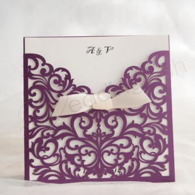 Wedding Modern purple laser cut wedding invitations - Wedding Wish Image 1