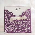 Modern purple laser cut wedding invitations image
