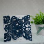 Navy Blue Lace Pocket Laser Cut Wedding Invitation Card image