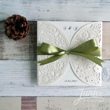 Wedding Romantic Floral Laser Cut Wedding Invitation Card With Ribbon - Wedding Wish Image 1