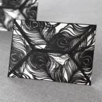 Unique Design Elegant Black Laser Cut Peacock Invitations image