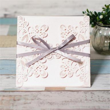 Wedding Grey Ribbon Laser Cut Ideal Products Wedding Cards - Wedding Wish Image 1