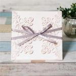 Grey Ribbon Laser Cut Ideal Products Wedding Cards image