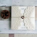 Affordable Rustic Laser Cut Wedding Invitation Cards image