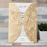 Amazing Brown Floral Laser Cut Wedding Invitation Cards image
