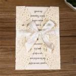 Unique Laser Cut Fashion Wedding Invitation Card With Ribbon image