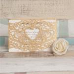 Fancy Metalli Brown Laser Cut Wedding Invitation Cards image