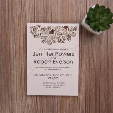 Wedding  Elegent Wedding Invitations With Top Laser Cut Flowers Image 1