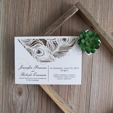 Wedding Glamorous Peacock Feather Flat Laser Cut Invites - Wedding Wish Image 1