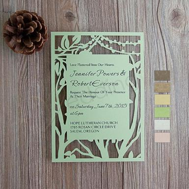 Wedding Rustic Tree Stringlights Laser Cut Wedding Cards - Wedding Wish Image 1