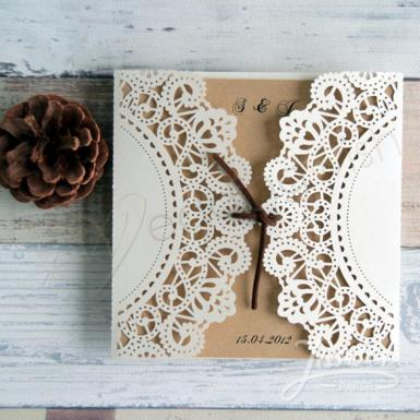 Wedding Affordable Rustic Laser Cut Wedding Invitation Cards - Wedding Wish Image 1