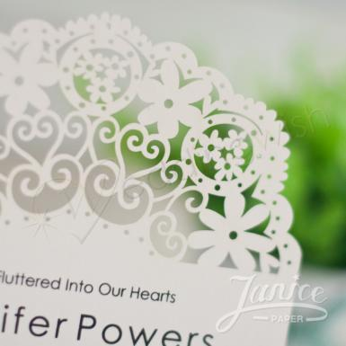 Wedding  Bohemian Floral Design Laser Cut Wedding Invitation Image 1