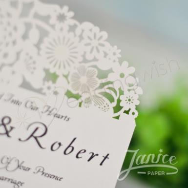 Wedding Oval Shaped Floral Laser Cut Invitations - Wedding Wish Image 1