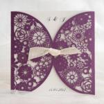 Romantic Purple lace cut wedding invitation card image