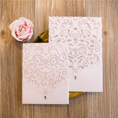Wedding Large Sized Lovely Laser Cut Pocket Wedding Invitation  ( 5.9*8.3 inch) - Wedding Wish Image 1
