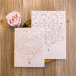 Large Sized Lovely Laser Cut Pocket Wedding Invitation  ( 5.9*8.3 inch) image