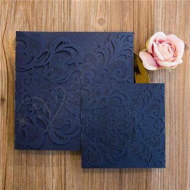 Wedding  Up-Scale Graceful Laser Cut Pocket Available Wedding Invitation  ( 8.1 * 8.1 inch) Image 1