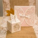 Romantic Floral Laser Cut Wedding Favor Boxes x 50 image