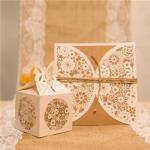 Rustic Laser Cut Wedding Favor Boxes x 50 image